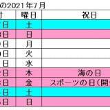 2021年の7月は4連休(海の日、スポーツの日)、8月は3連休(山の日)が実現@東京オリンピック開幕対応